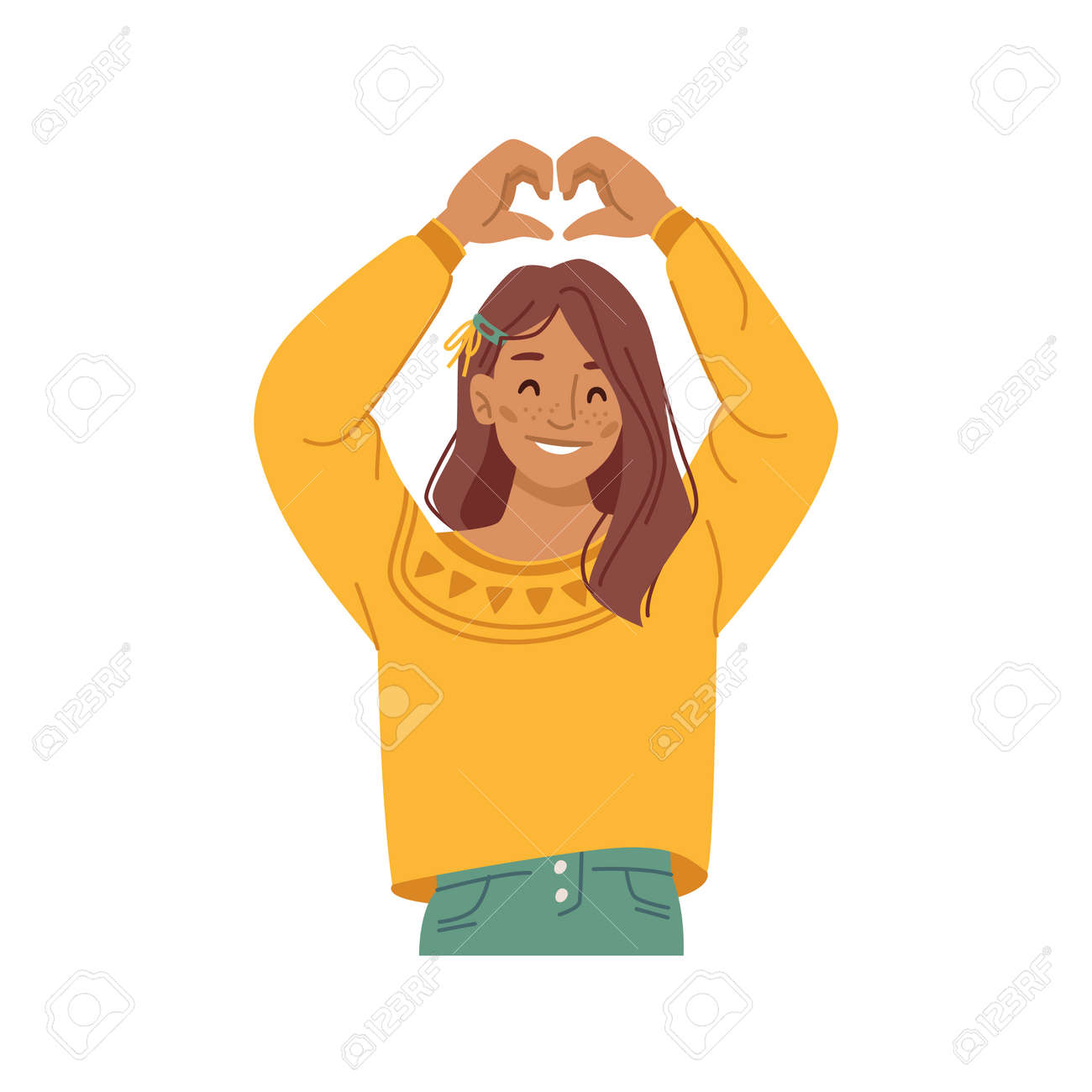 Girl kid showing heart sign with hands, isolated female personage preteen smiling and gesturing. Love and devotion, support and charity symbol of caring and empathy. Flat style cartoon character - 171582028