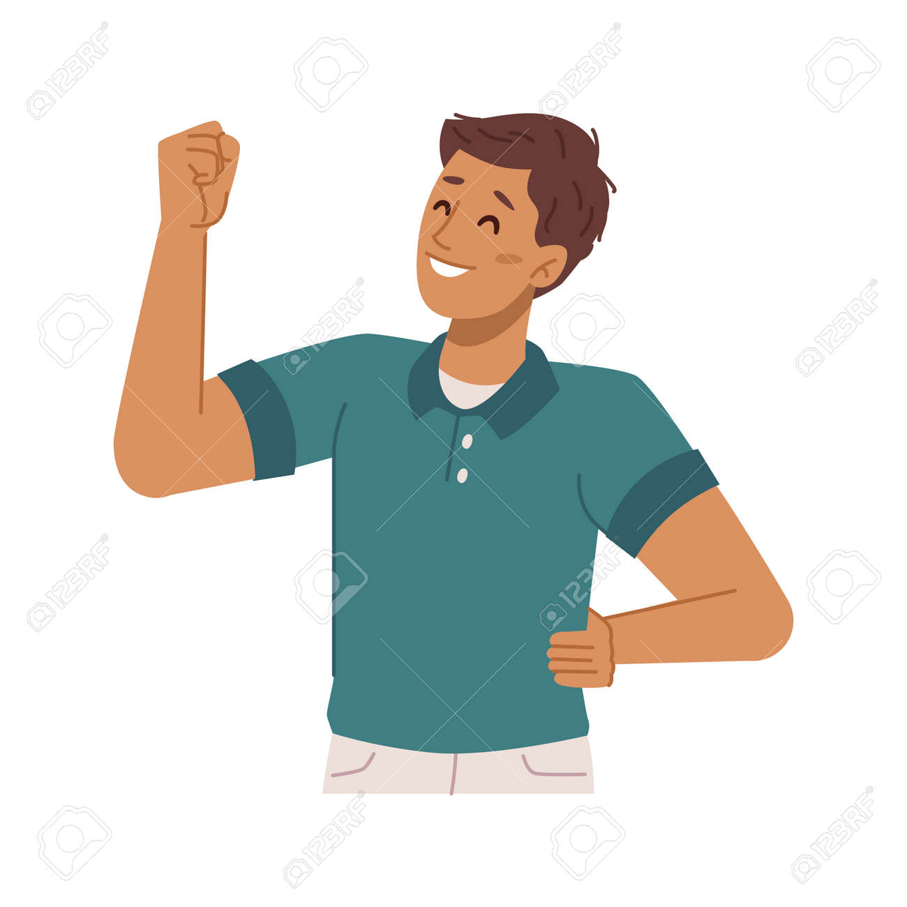 Happy boy kid gesturing showing muscles, isolated personage expressing strength and power. Confidence and excitement, cool guy with muscular hand with biceps. Flat style cartoon character vector - 171581946