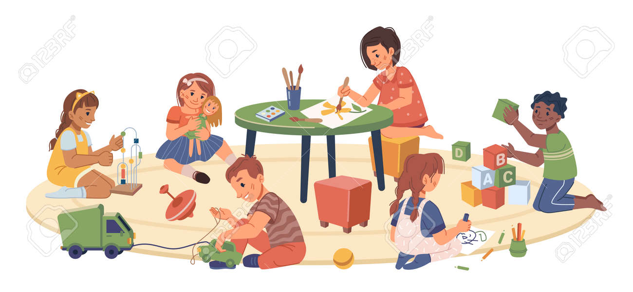 Kindergarten kids playing and studying, isolated children drawing and cuddling doll. Montessori system of education for preschoolers and toddlers. Development of skills. Flat cartoon character vector - 171589783