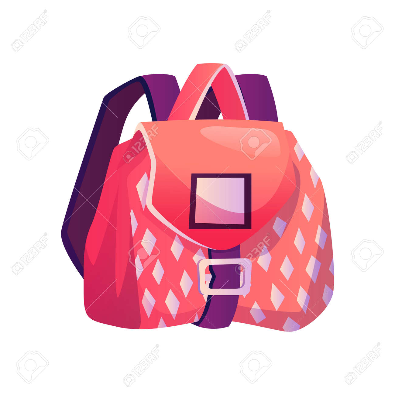 Satchel for girl with pockets and geometric print. Isolated girlish bag with straps. Flexible textile bag for personal belonging, fabric backpack. Baggage with clasp. Flat cartoon style vector - 171589786