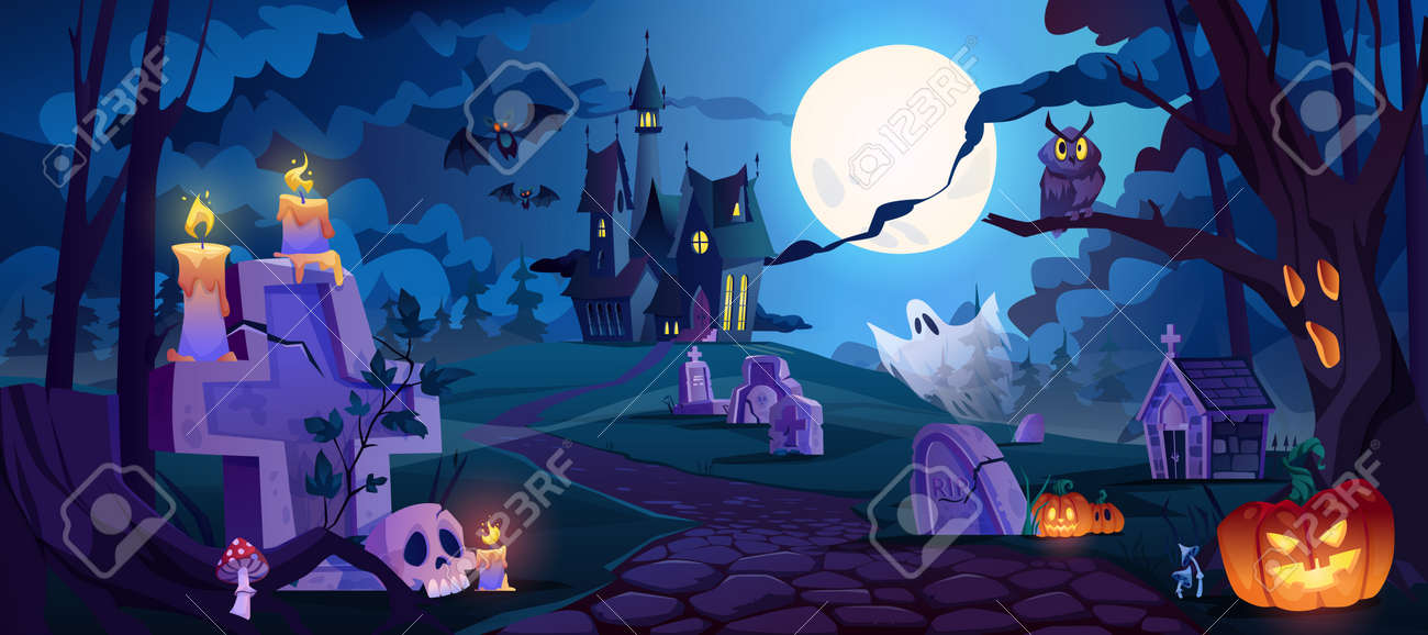 Graveyard and high spooky castle on top, cemetery with skulls and candles, pumpkins with lights and ghosts. Halloween landscape scene, small boneyard with tombstones and dry trees. Cartoon vector - 171589788