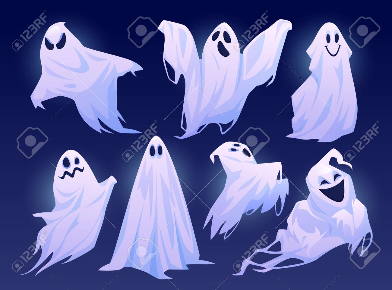 Good and evil ghosts of halloween, isolated set of personages in costumes. Floating apparitions with facial expression of sadness, joy and anger. Spooky monsters. Flat cartoon character vector - 171589790