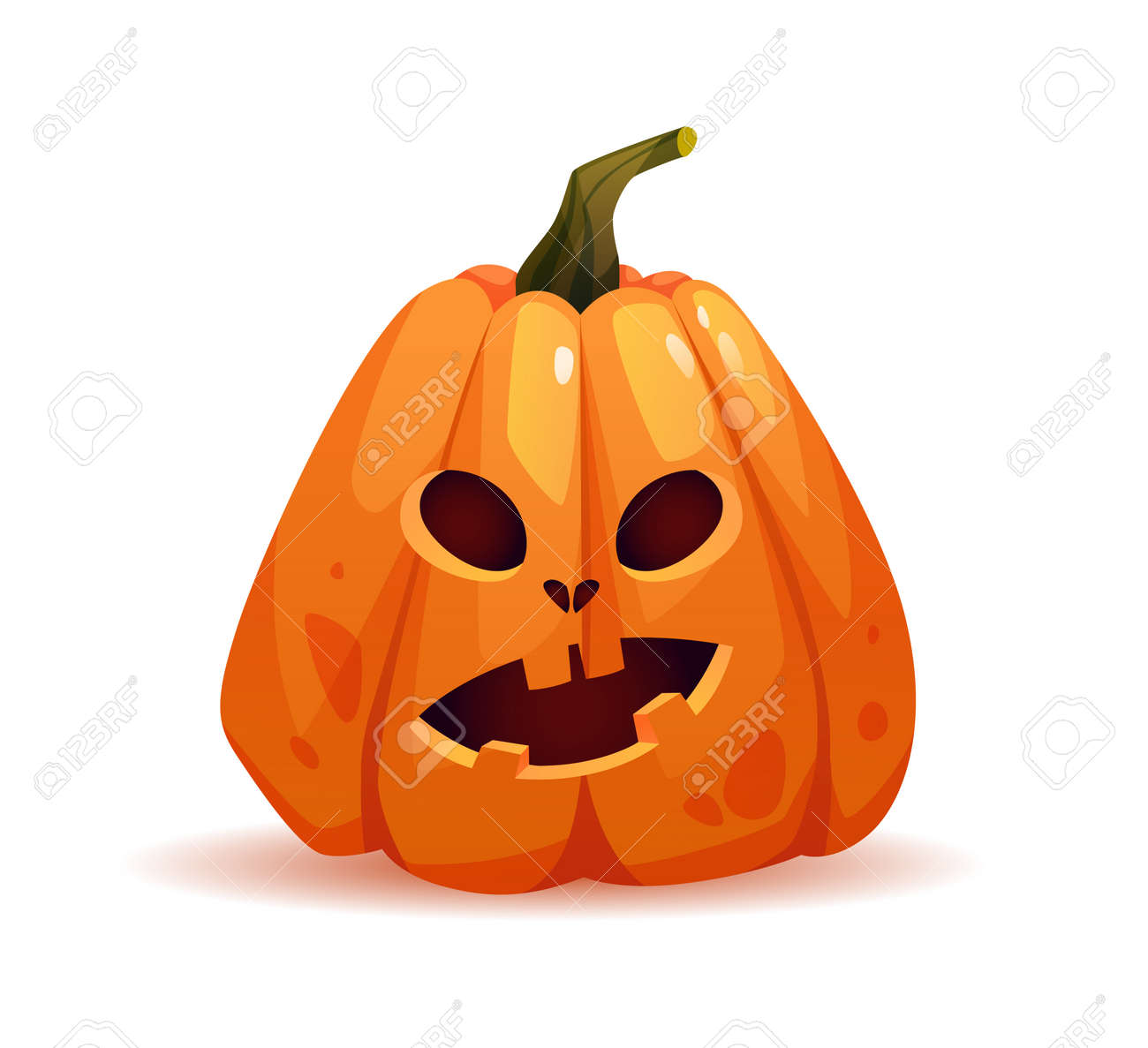 Shocked halloween pumpkin with wondering facial expression, autumn personage with emotion on face. Symbol of october harvest and celebration. Scary monster. Realistic cartoon character vector - 171582067