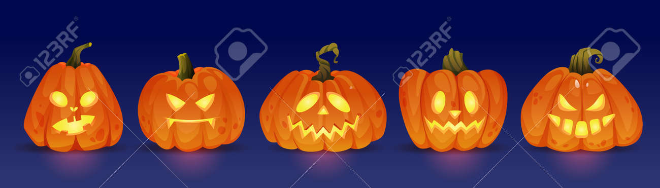 Good and evil glowing halloween pumpkin characters, haunting jack o lanterns with light. Trick or treat, autumn holiday celebration. Seasonal events and fun. Realistic cartoon character vector - 171582166