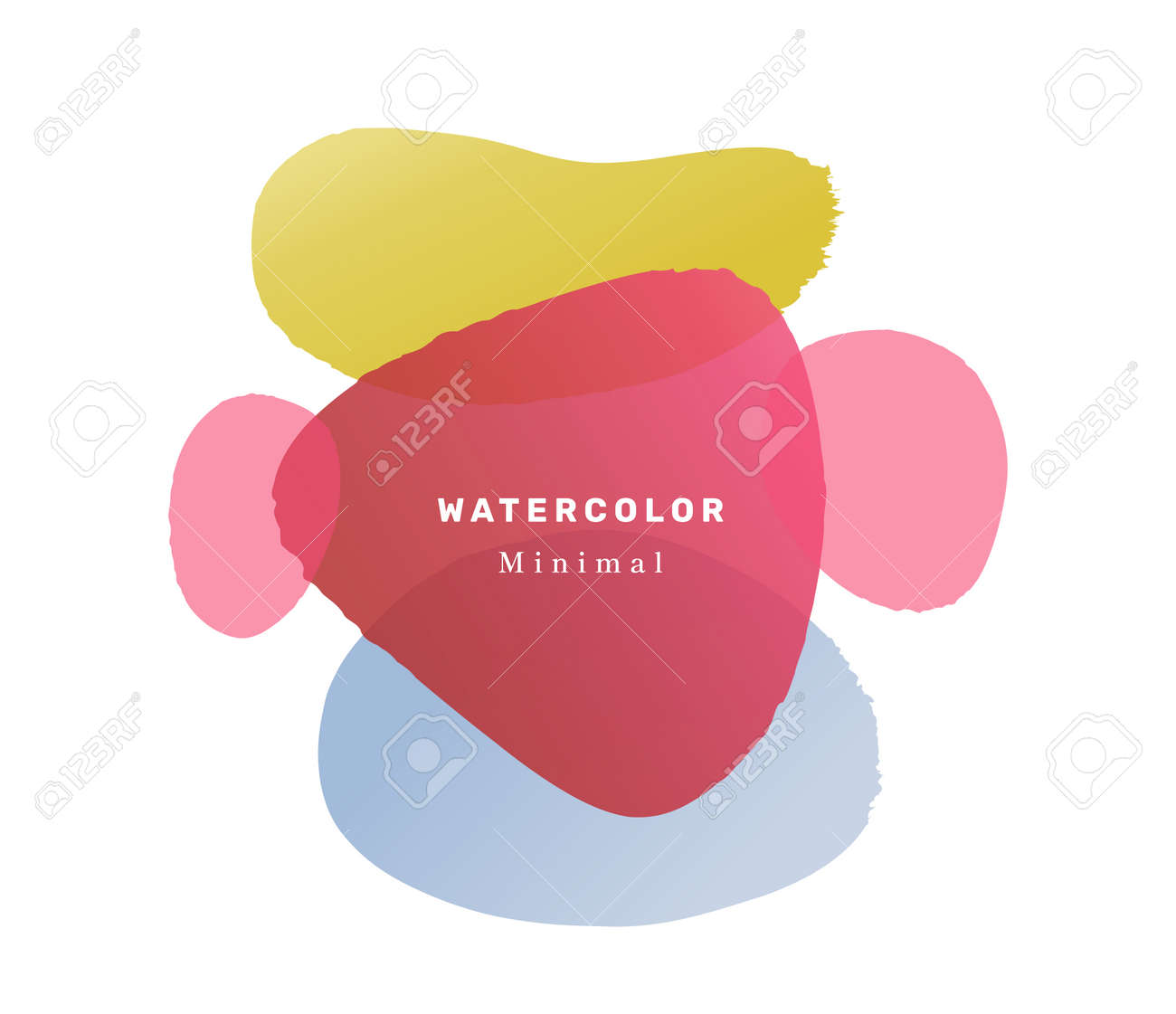 Modern banner with watercolor liquid blobs and shapes design. Isolated composition with inscription. Trendy contemporary invitation card or postcard or promo poster template. Flat cartoon vector - 171581842