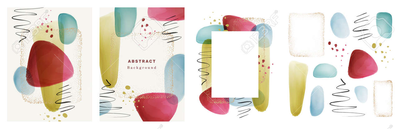 Transparent texture watercolor brushes, gold dots frame, calligraphic strokes, splashes set collection. Vector design of banner, poster, brochure with blobs and brush strokes, shapes and frames - 171582788