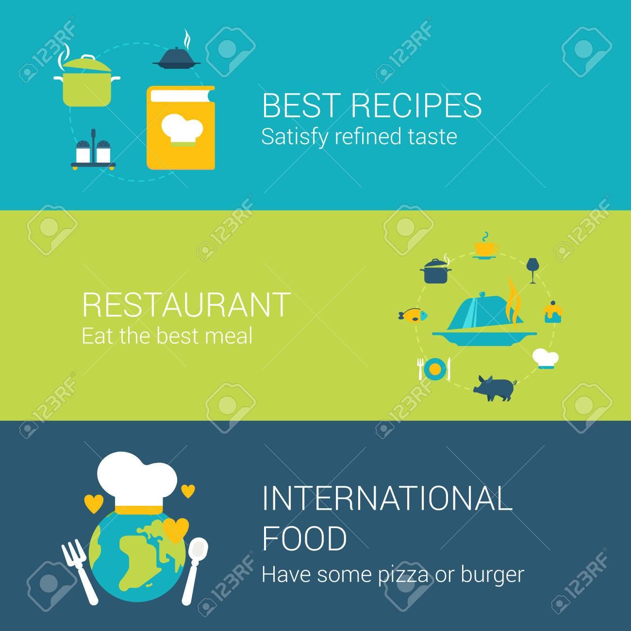 Restaurant-Konzept Flache Ikonen Satz Von Besten Rezepte Buch ...
