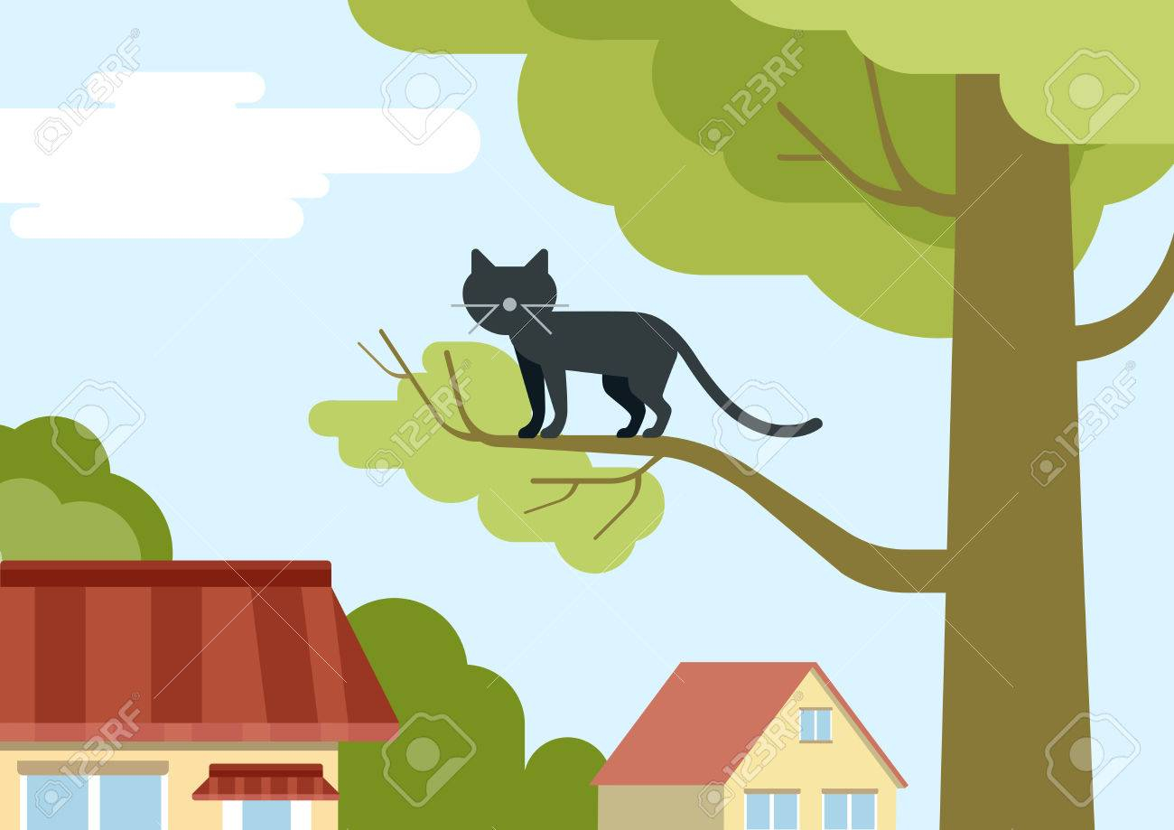 Cat On Tree Branch On The Street Flat Design Cartoon Vector Wild Royalty Free Cliparts Vectors And Stock Illustration Image 44797480 Cartoon animal cute deer flowers wall stickers for kids rooms. cat on tree branch on the street flat design cartoon vector wild
