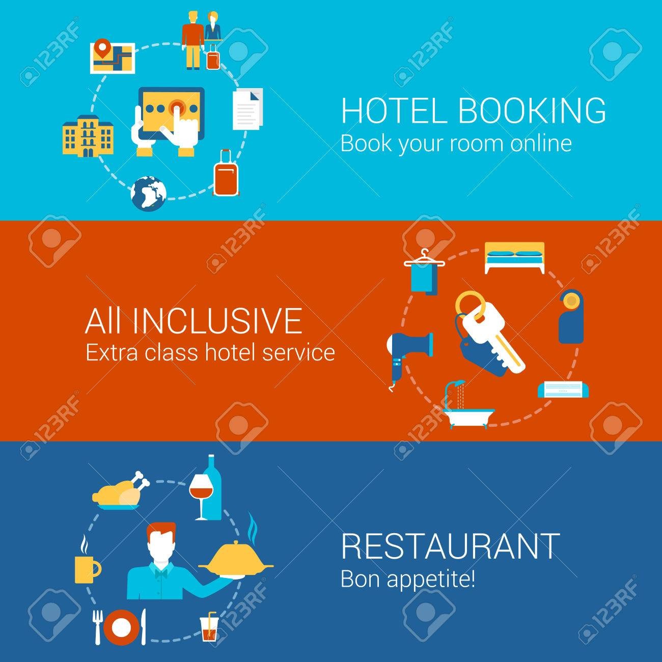 Hotel Booking Restaurant Travel Business Concept Flat Icons Set Of Hotels Online Book All Inclusive Service