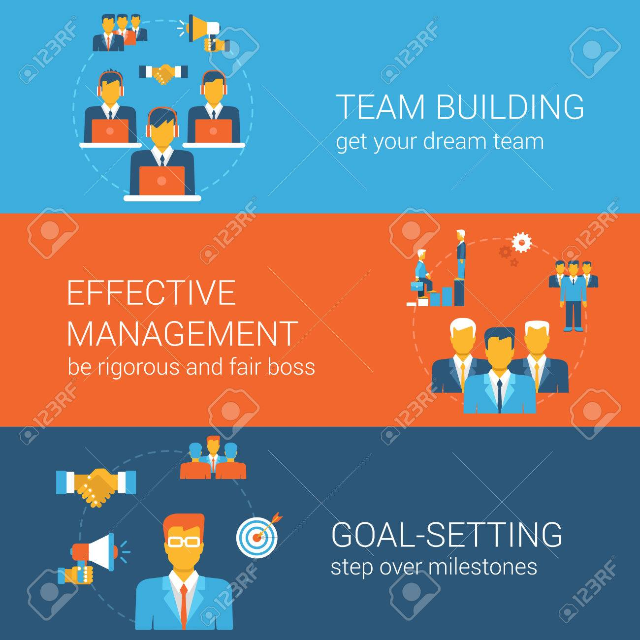 Team goal management concept flat icons banners template set