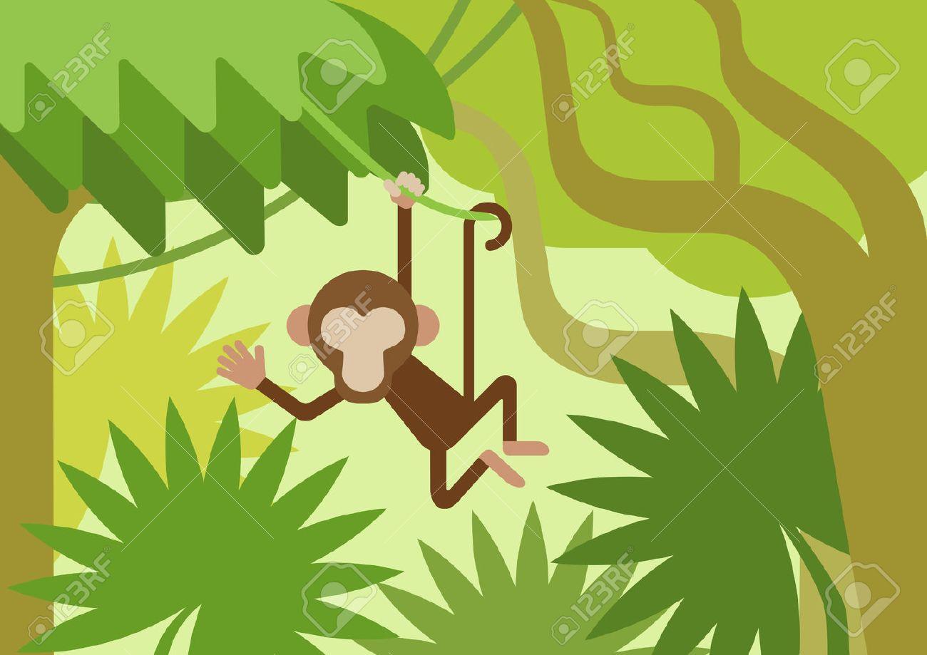 Singe Sur La Branche D Arbre De La Jungle Climber Conception Plate