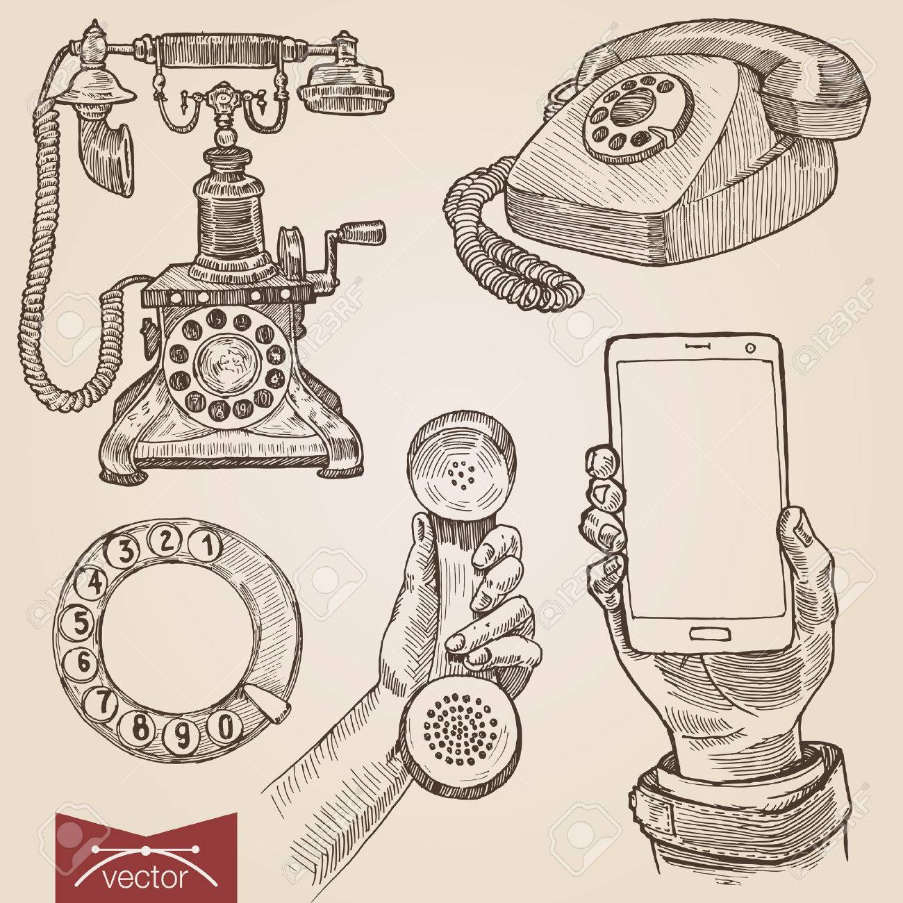 Handdrawn engraving style pen pencil crosshatch hatching paper painting retro vintage vector lineart illustration set of old fashioned disc phones smartphone. Engrave silhouette conceptual collection - 45041443