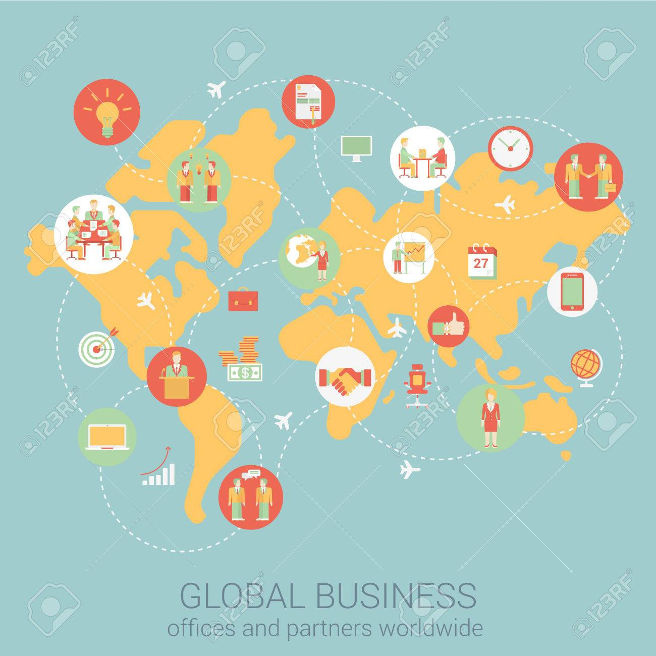 Global business worldwide flat style design vector illustration global business worldwide flat style design vector illustration world map people partnership link connections staff office gumiabroncs Gallery