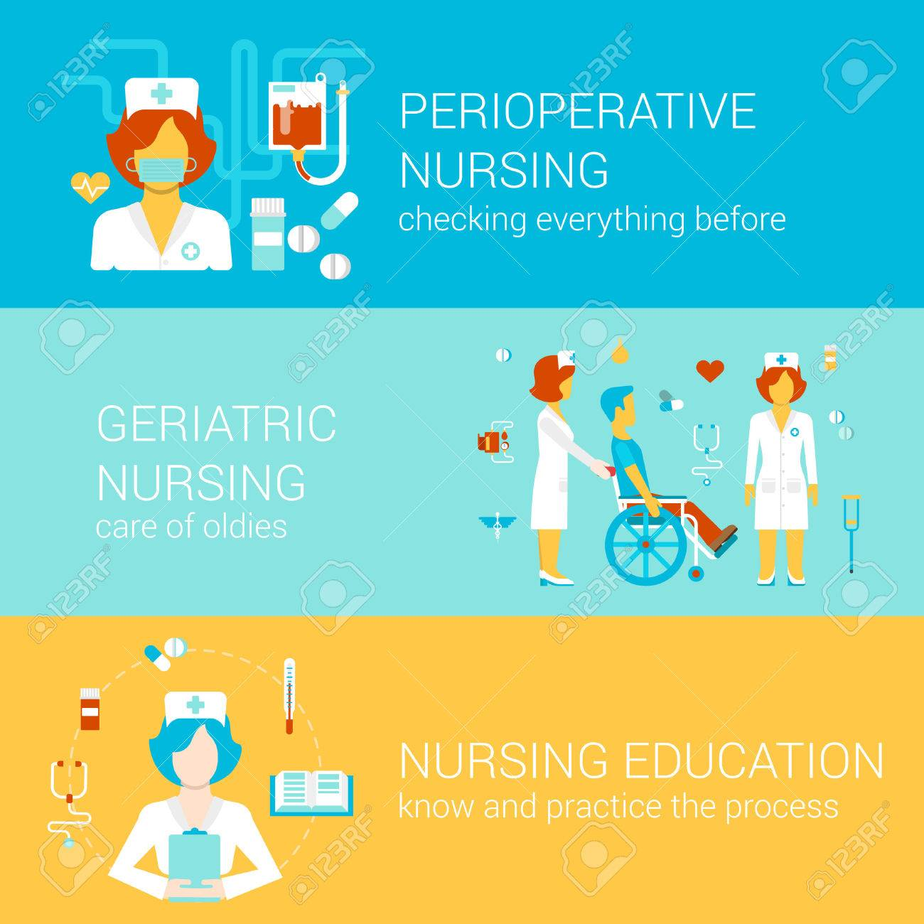 Nursing Medical Concept Flat Icons Banners Template Set ...