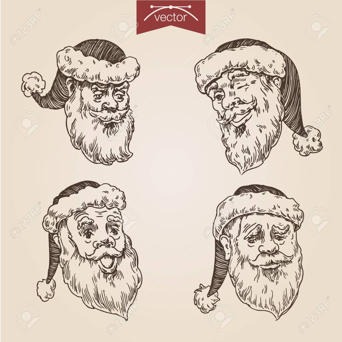 Noel Santa Tetes Emotionnels Etiquettes Nouvel An Portraits Au