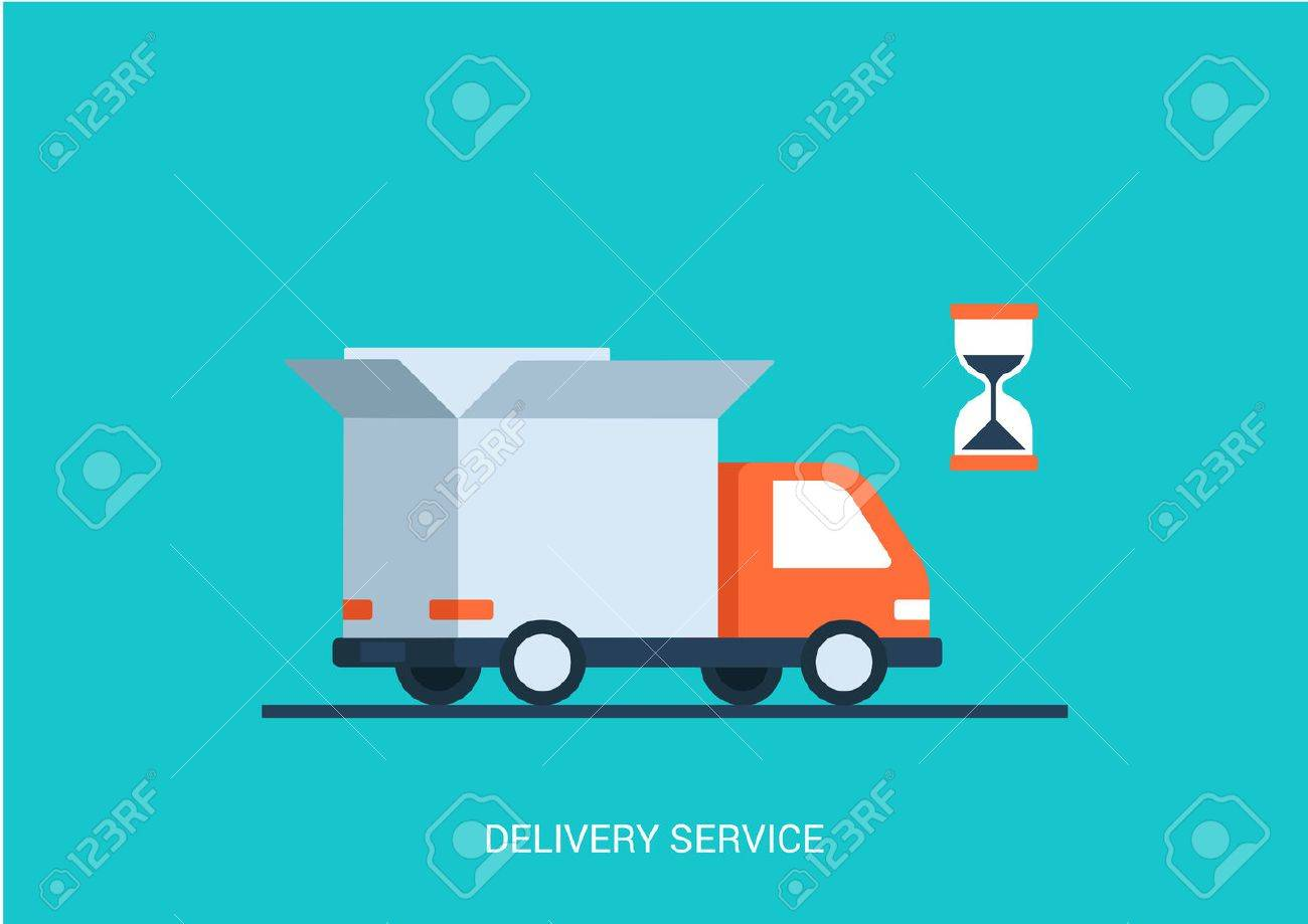 Flat style vector illustration delivery service concept. Abstract truck with open white box container and hourglass product item goods shop shipping. Big flat conceptual collection. - 44798395