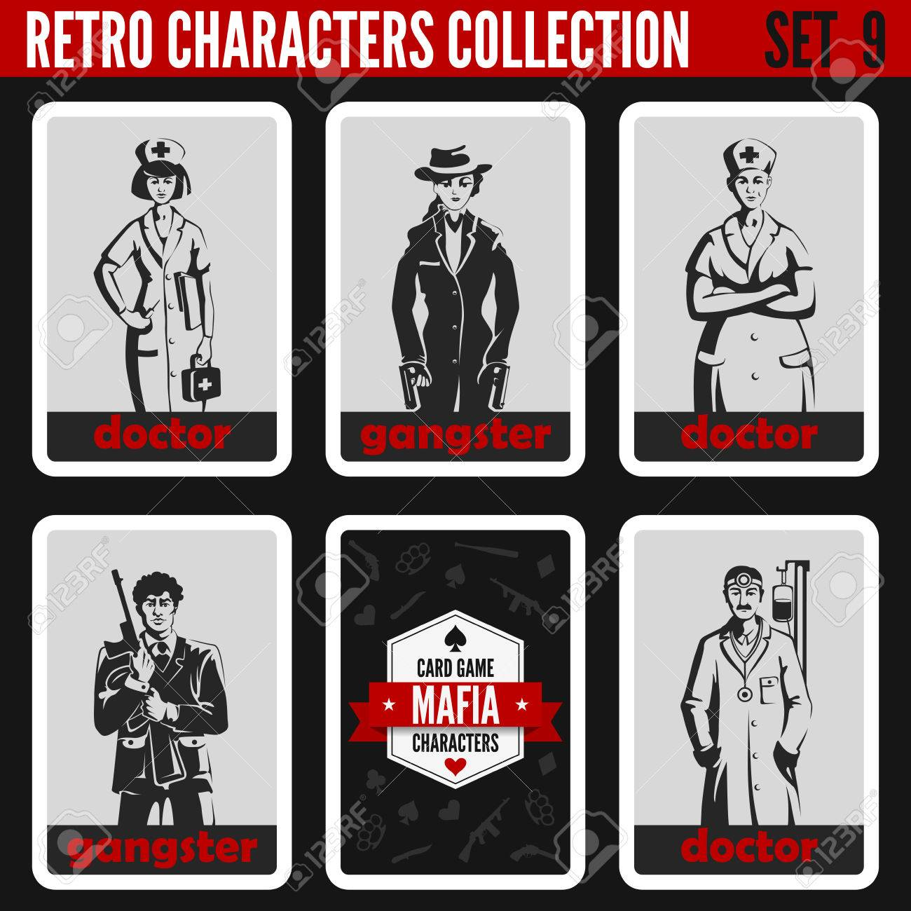 Vintage Retro People Collection Mafia Noir Style Gangsters Doctors Professions Silhouettes
