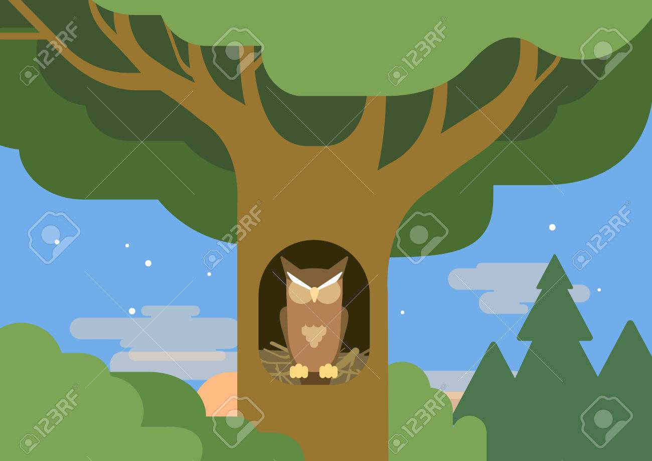 Owl In A Hollow Tree Forest Habitat Flat Design Cartoon Vector Royalty Free Cliparts Vectors And Stock Illustration Image 44798526 Cartoon birthday illustration, cartoon zoo material, zoo cartoon character baby animals illustration png monkey hanging from a tree, monkey hanging on trunk with its tail png clipart. owl in a hollow tree forest habitat flat design cartoon vector