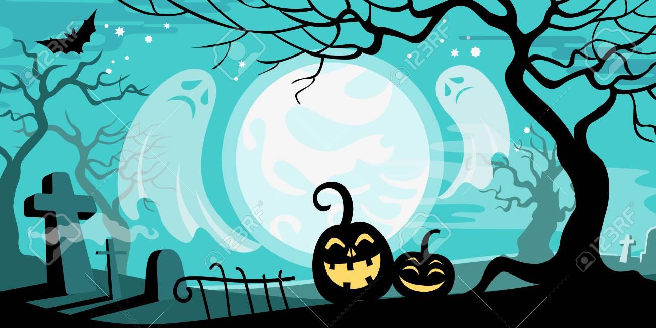 Halloween Vector Illustration Concept Template Scary Graveyard ...