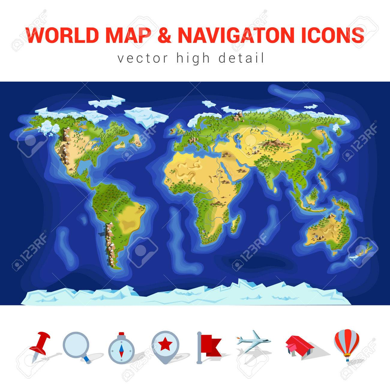 Navigation World Map.World Map High Detail Vector Navigation Icon Set America Asia