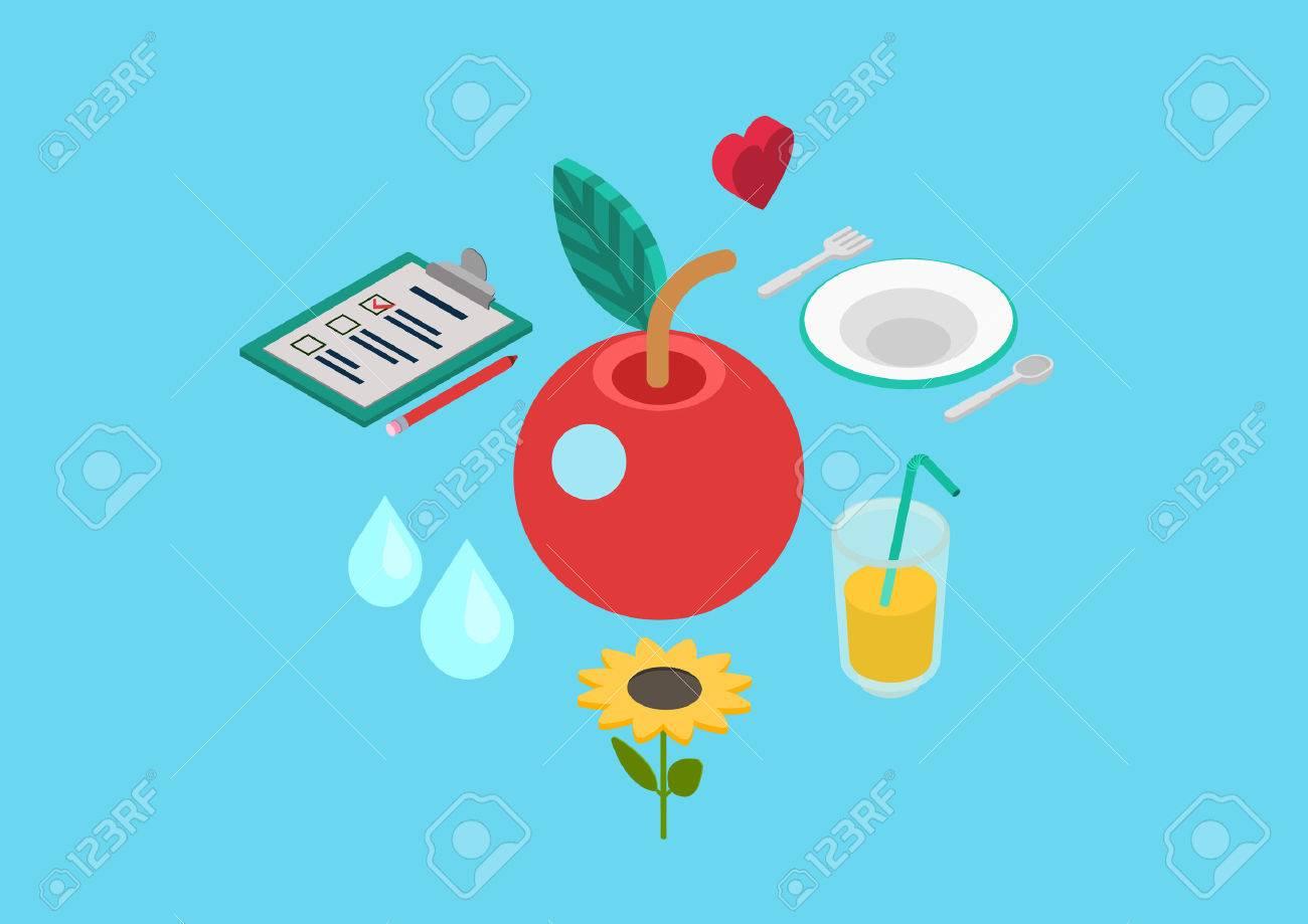 Bio Nutrition Saine Des Aliments Naturels Flat 3d Pixel Art Isométrique Moderne Concept Plaque De Verre Coeur Vecteur De Pomme De Limonade Site De