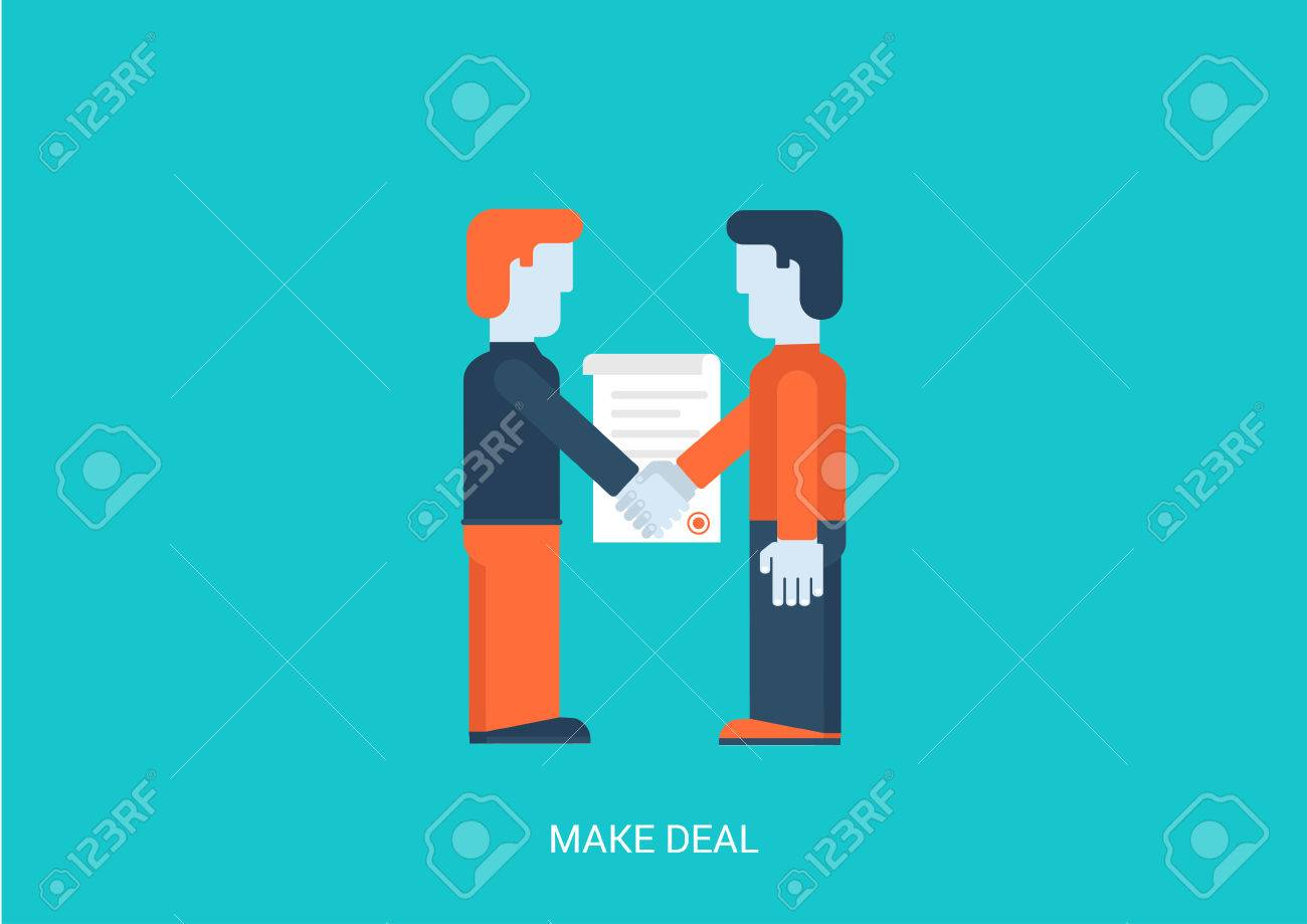 Flat Style Vector Illustration Contract Make A Deal Concept. Two  Businessmen Handshake Contracting. Big
