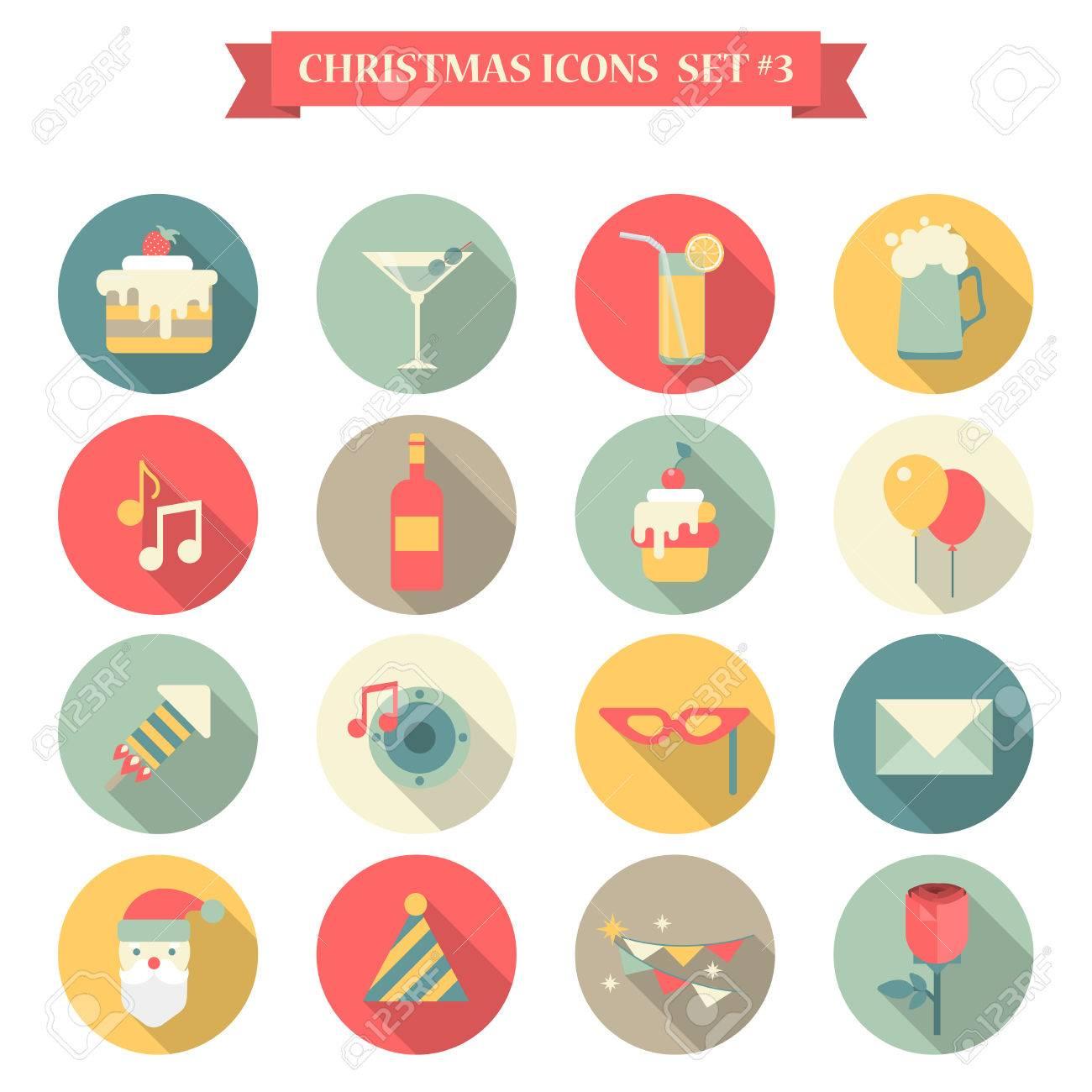 Weihnachten Neujahr Icon Set Flach Stil Süßigkeiten Getränke ...