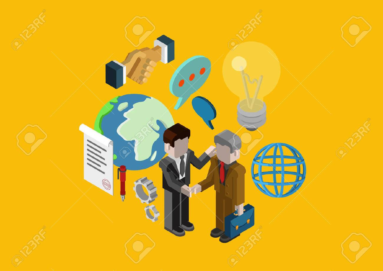Modern Flat 3d Isometric Design Concept Business Contract Deal ...