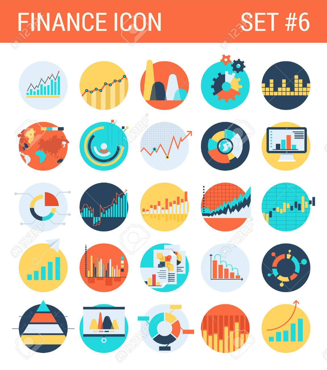 Finance infographics flat icons set diagram statistics graphics finance infographics flat icons set diagram statistics graphics chart pie report market analysis bar graph stats ccuart Images