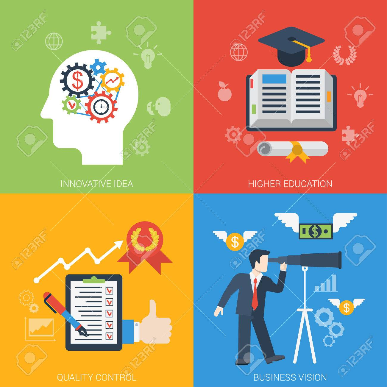 Flat style web banner modern icon set concept from innovative idea to success in business. Gear cogwheel mechanism brain education quality control vision. Website click infogaphics elements collection - 48541748