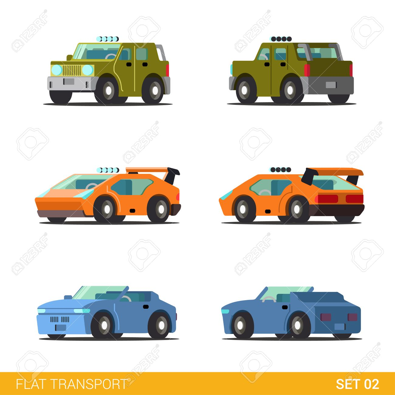 Flat Isometric Funny Road Transport Icon Set Offroad Suv
