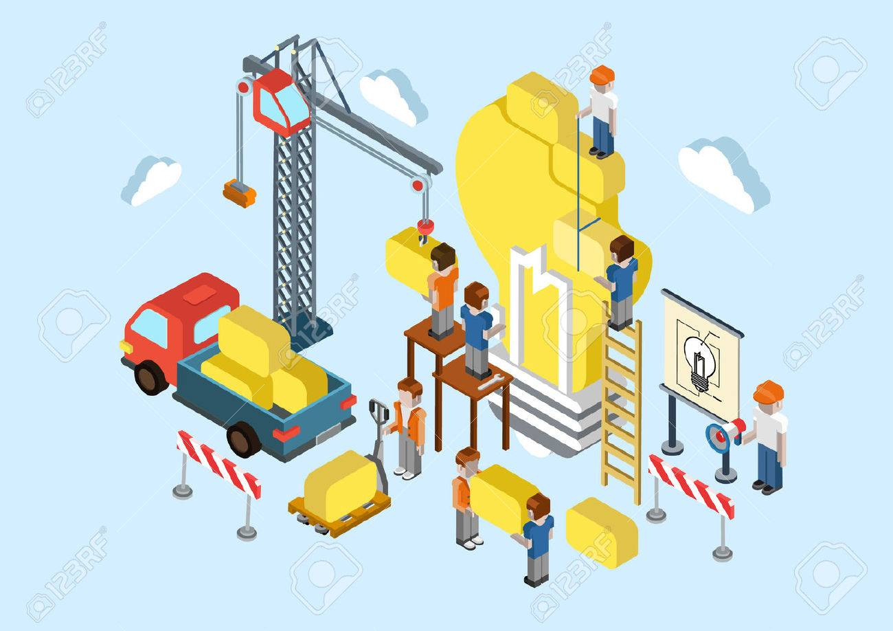 Flat 3d Isometric Creative Idea Planning, Brainstorming Web Infographic  Concept Vector. Crane, Lorry