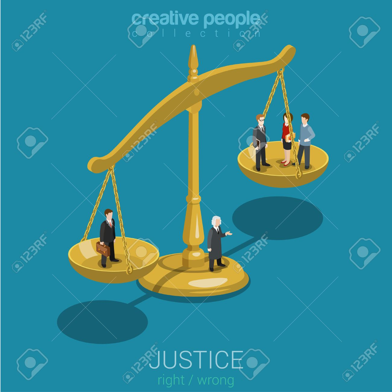 Justice and law, judgment and decision, court session, judicial sitting flat 3d web isometric infographic concept vector. Micro casual people judge bowls of scales. Creative people world collection. - 48543943