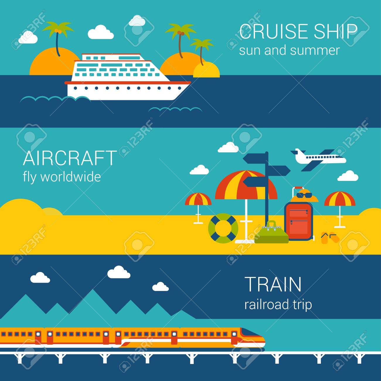flat design web banners template set of cruise ship aircraft