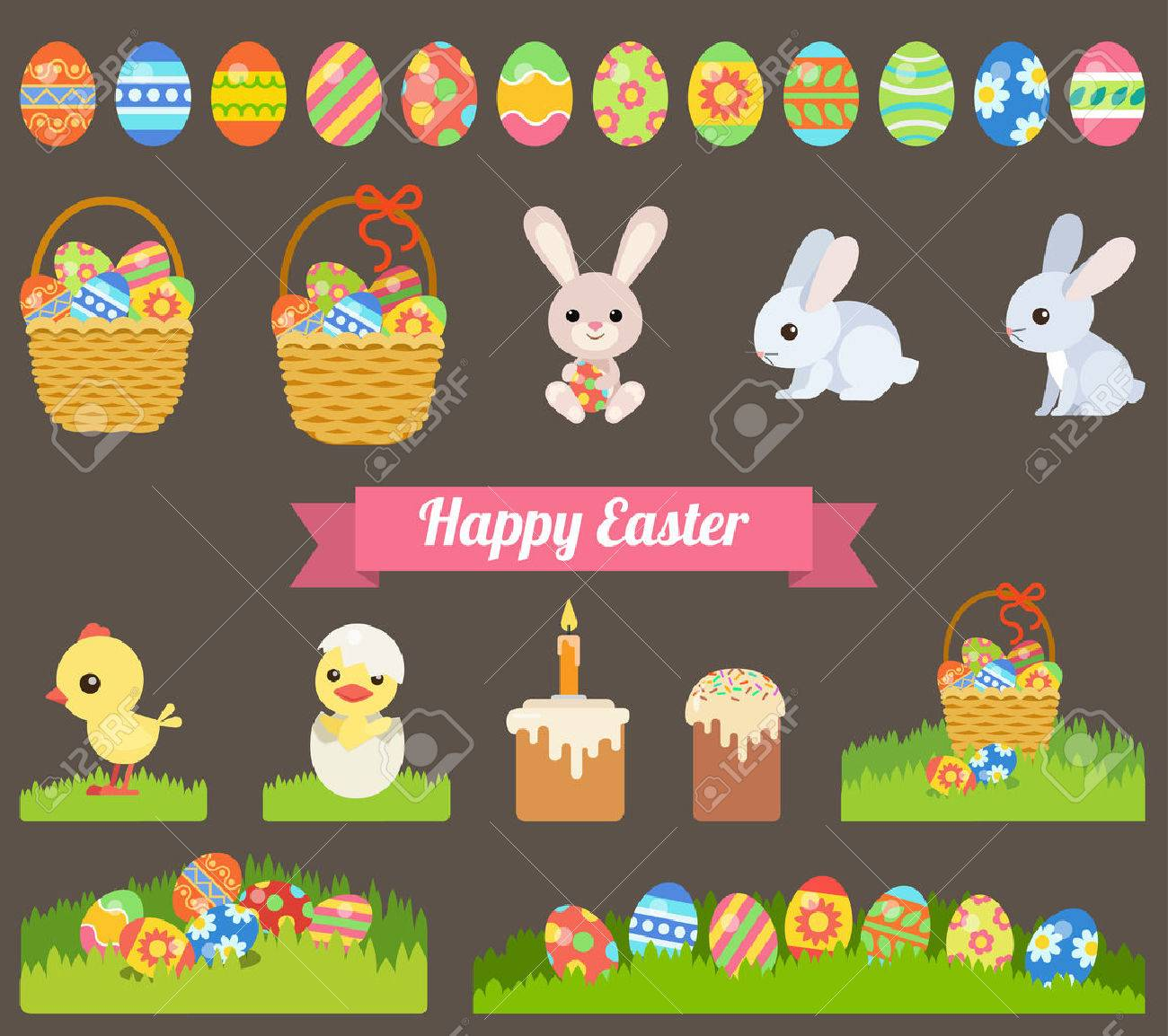 Easter holiday flat style icon set Stock Vector - 54532778