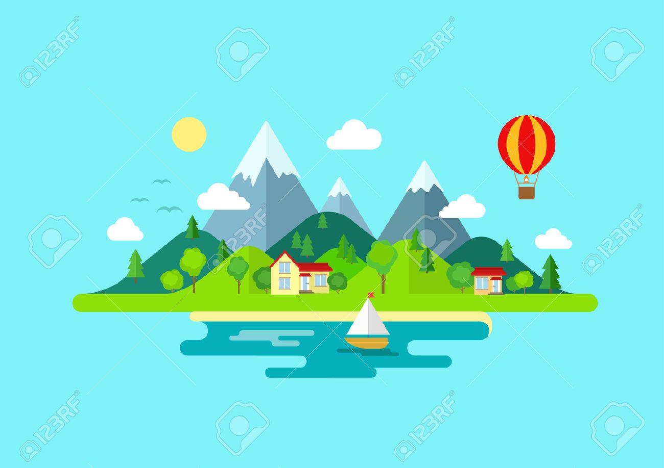 Montañas Viaje Paisaje Isla Y Color Vela Vector Plana Icono De La ...