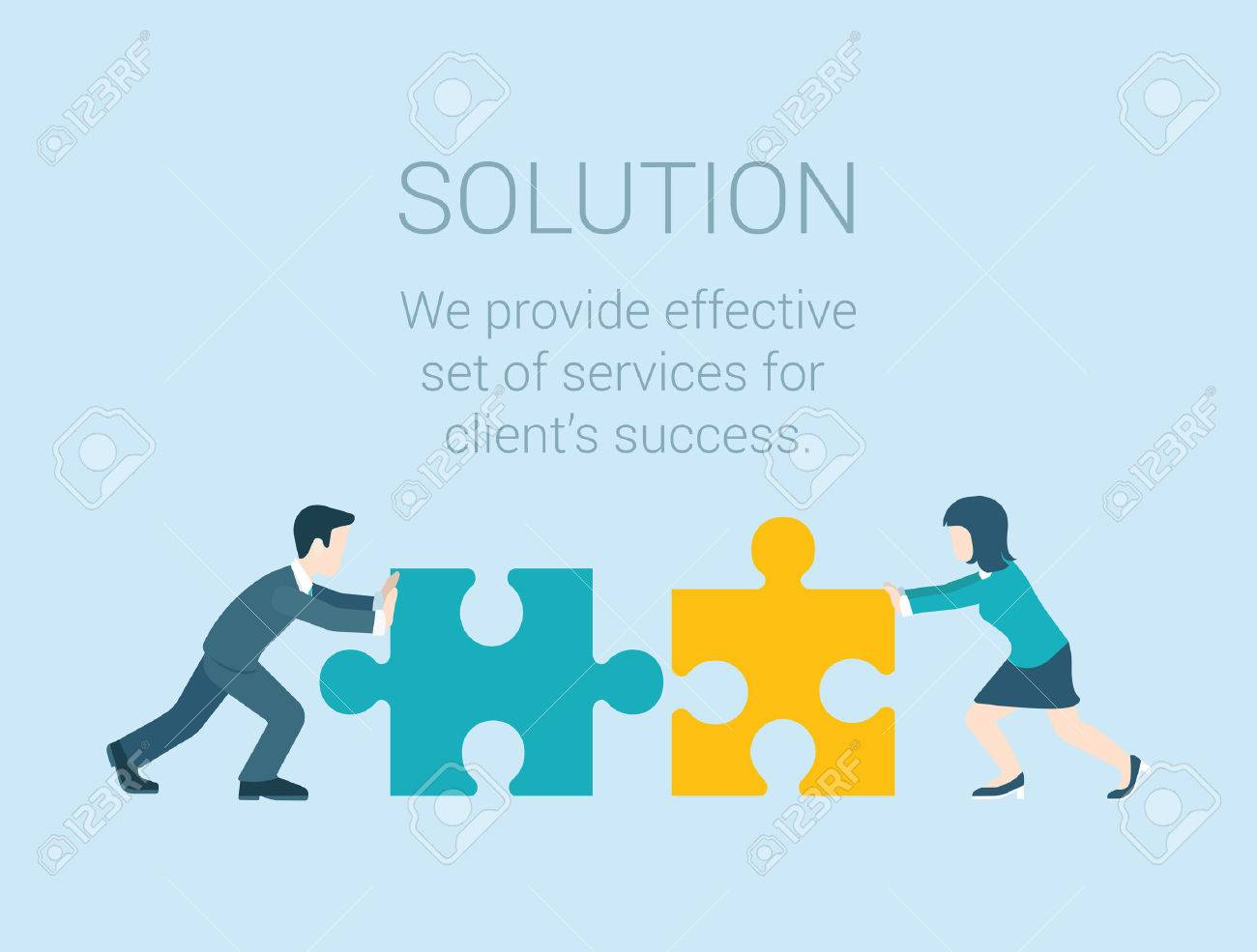 Flat style modern infographic business solution concept. Conceptual web illustration businessman and businesswoman characters connecting puzzle pieces. - 48545043
