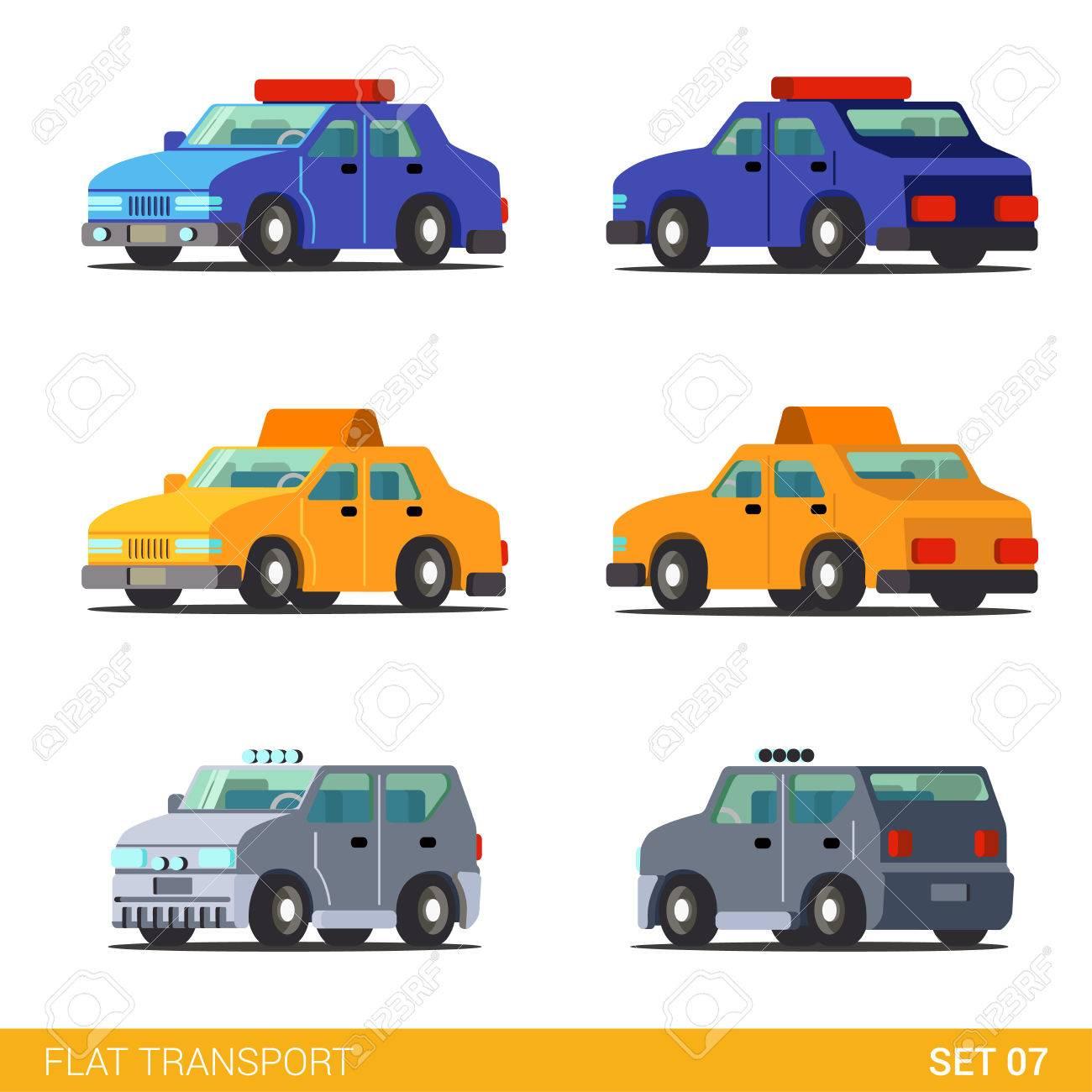 Flat 3d isometric funny sedan cars city road transport icon set