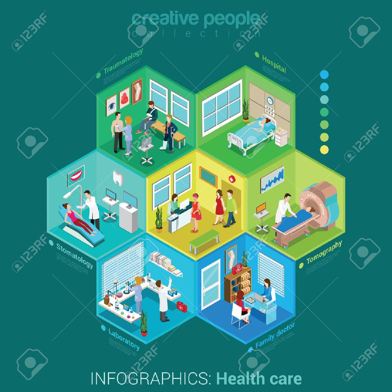 Flat 3d isometric health care hospital laboratory family doctor nurse infographic concept vector. Abstract interior room cell patient customer client visitor medical staff. Creative people collection. Stock Vector - 48576381