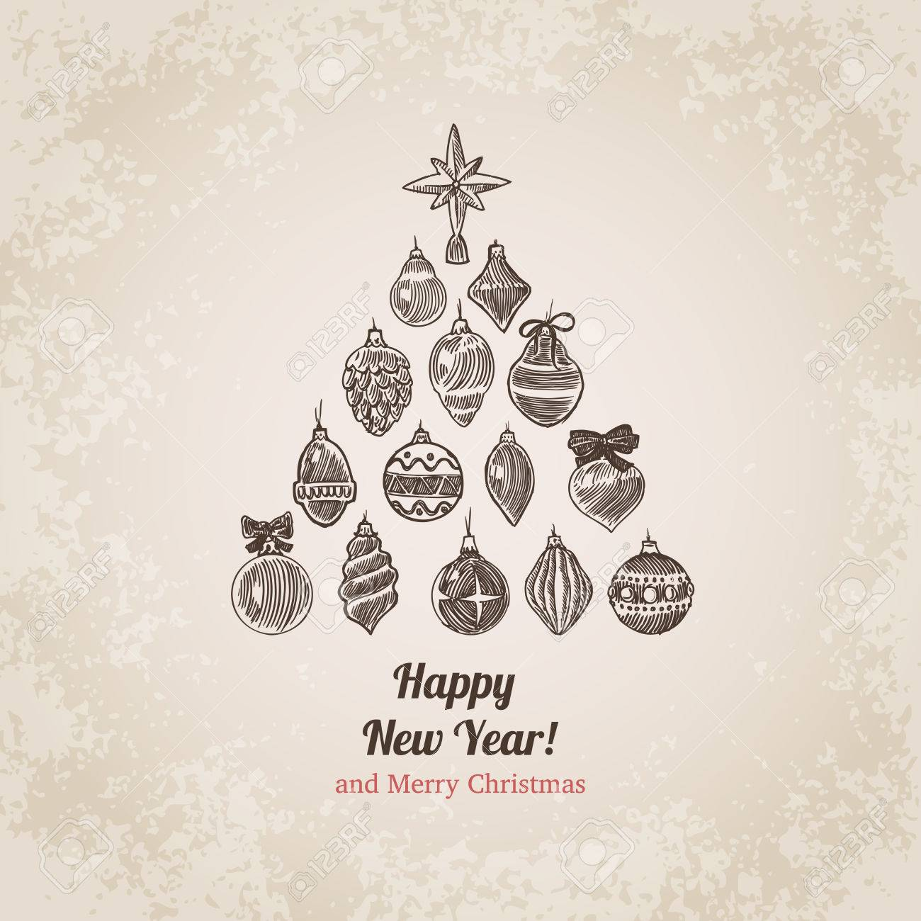 Christmas Tree Decorations Set New Year Handdrawn Engraving Style