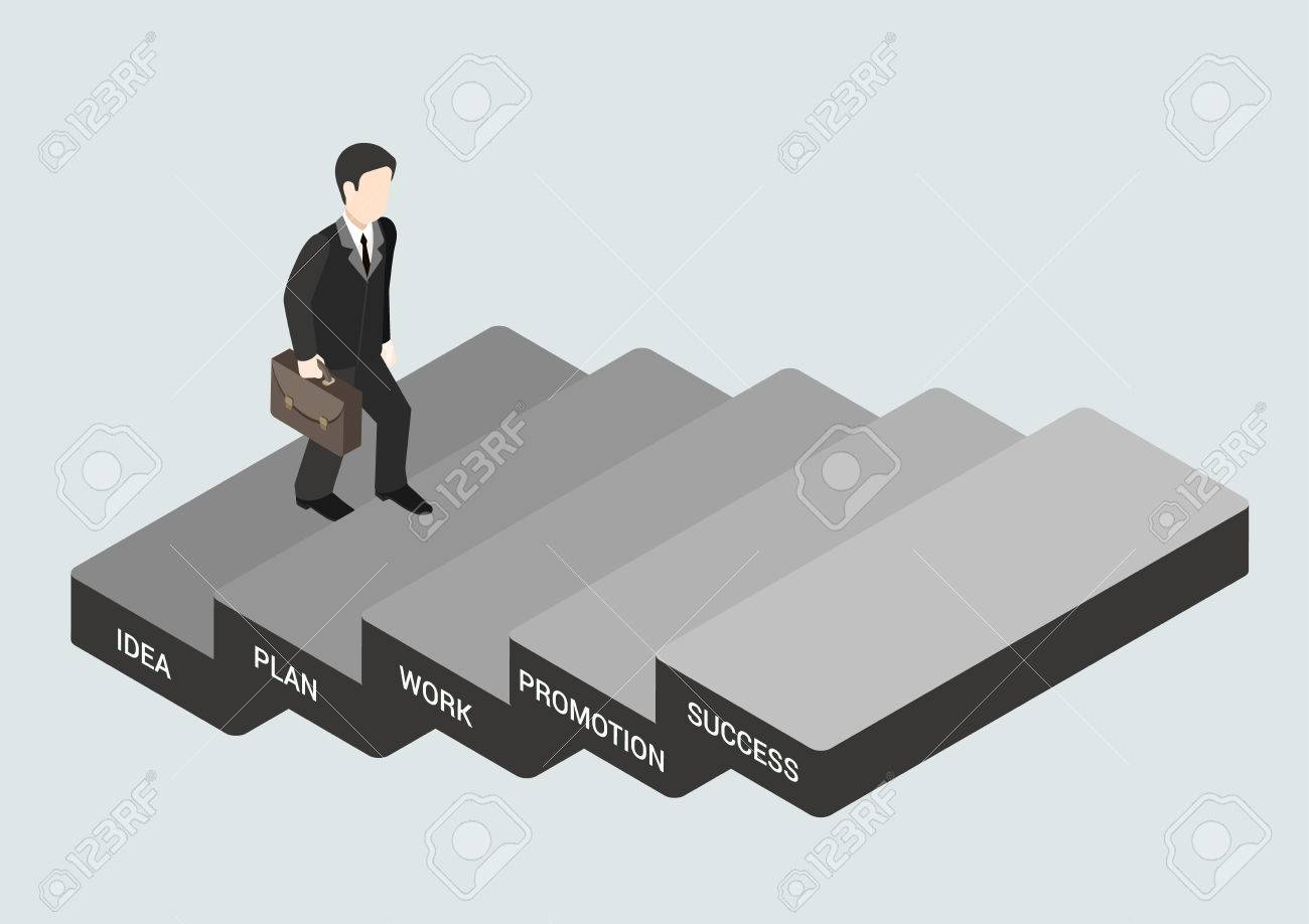 business concept steps to succeed flat d web isometric business concept steps to succeed flat 3d web isometric infographic vector businessman stepping idea