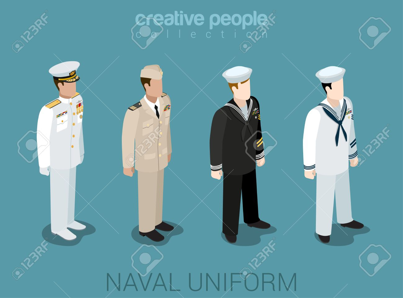 Naval Military People In Uniform Flat Isometric 3d Game Avatar