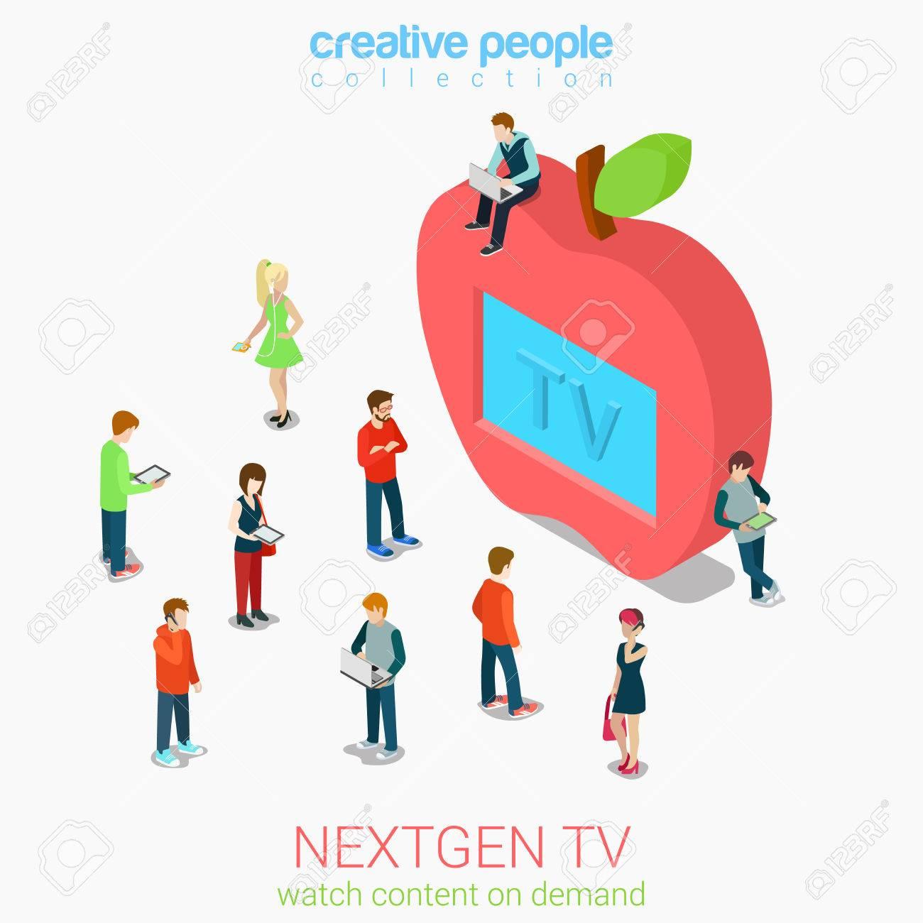Nextgen Online Internet Tv Flat 3d Web Isometric Infographic ...