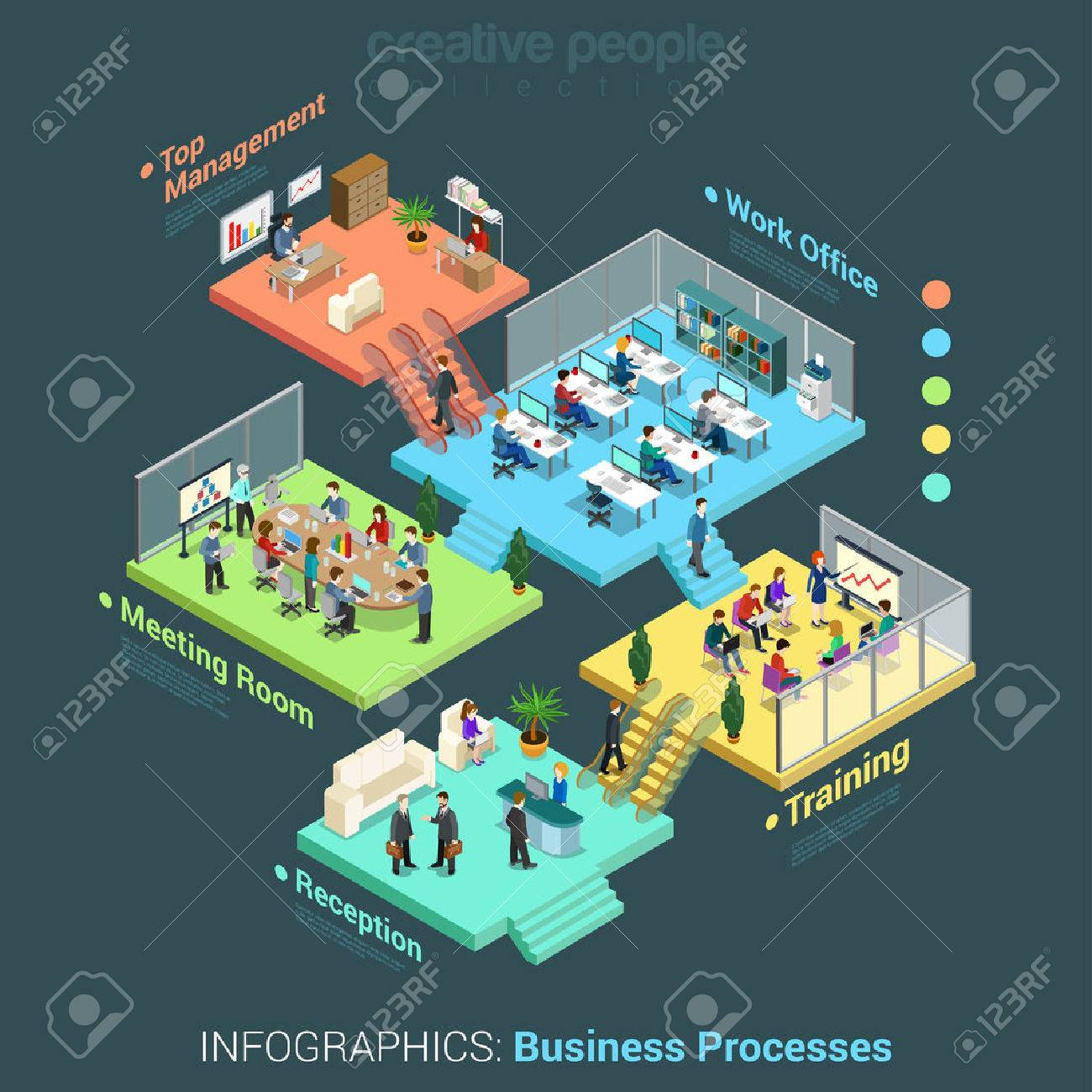 Flat 3d isometric business office floors interior rooms concept vector Stock Vector - 54532841