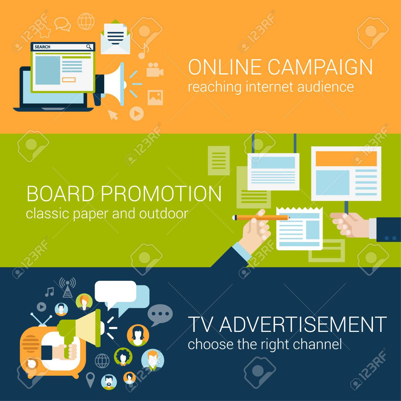 Flat Style Infographic Advertising Campaign Types Concept. Online ...