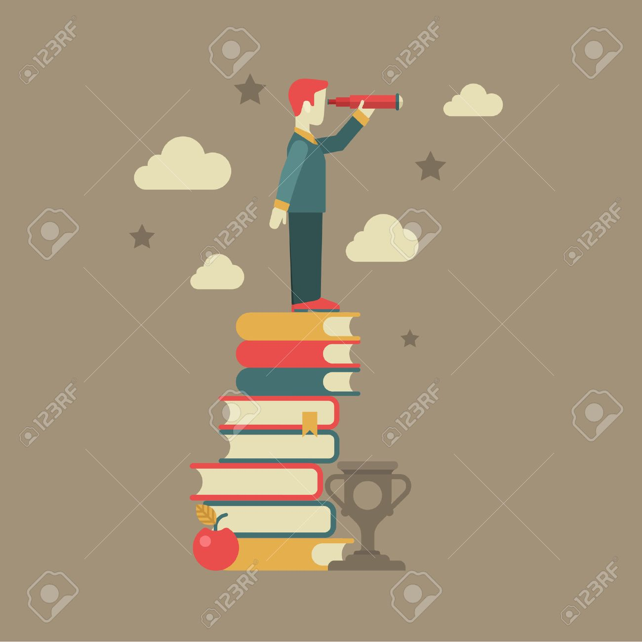 Flat education future vision concept. Man looking through spyglass stands on book heap, apple, clouds, stars, cup winner. Conceptual web illustration for power of knowledge, meaning of being educated. Stock Vector - 48577164