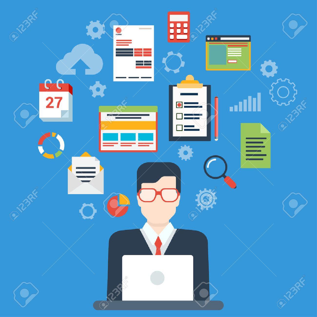Flat style modern businessman creative process infographic concept...