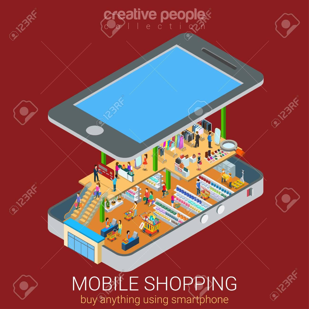 De compras de comercio electrónico móvil supermercado en línea plana 3d web isométrica vectorial concepto de infografía y comercio electrónico, las ventas. Los compradores de los clientes dentro de teléfono inteligente grande entre los estantes con productos. Foto de archivo - 48577233