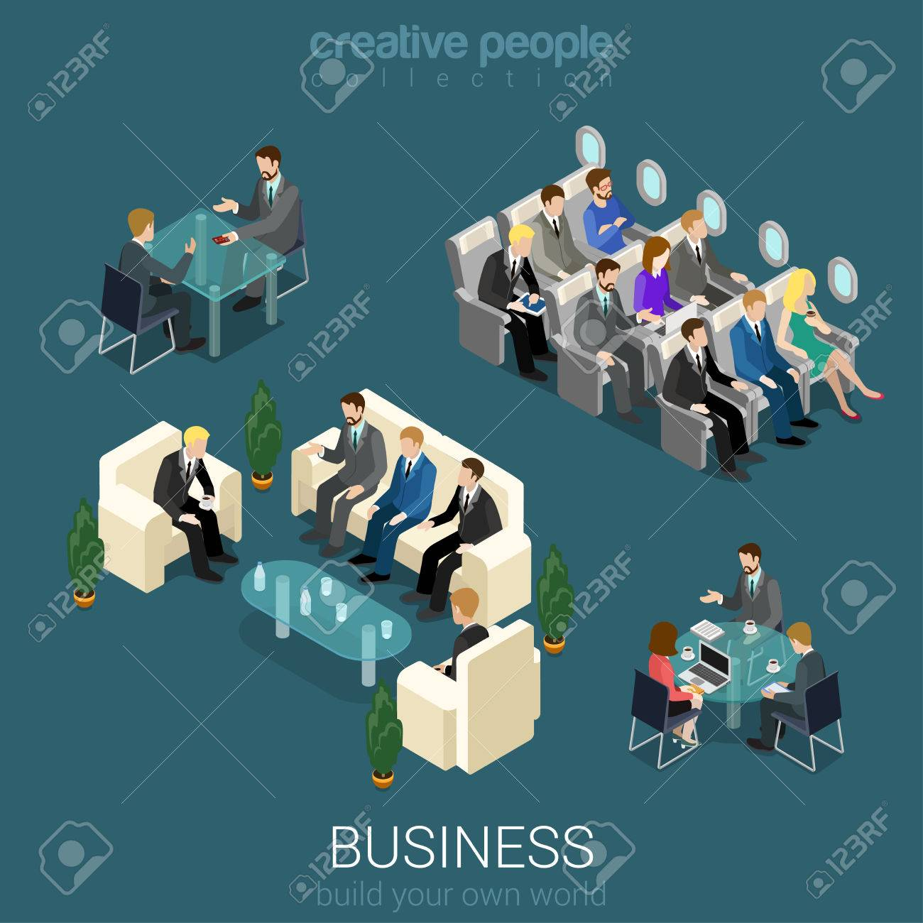 flat 3d isometric abstract office building floor interior detail elements concept vector negotiations meeting room abstract 3d office building