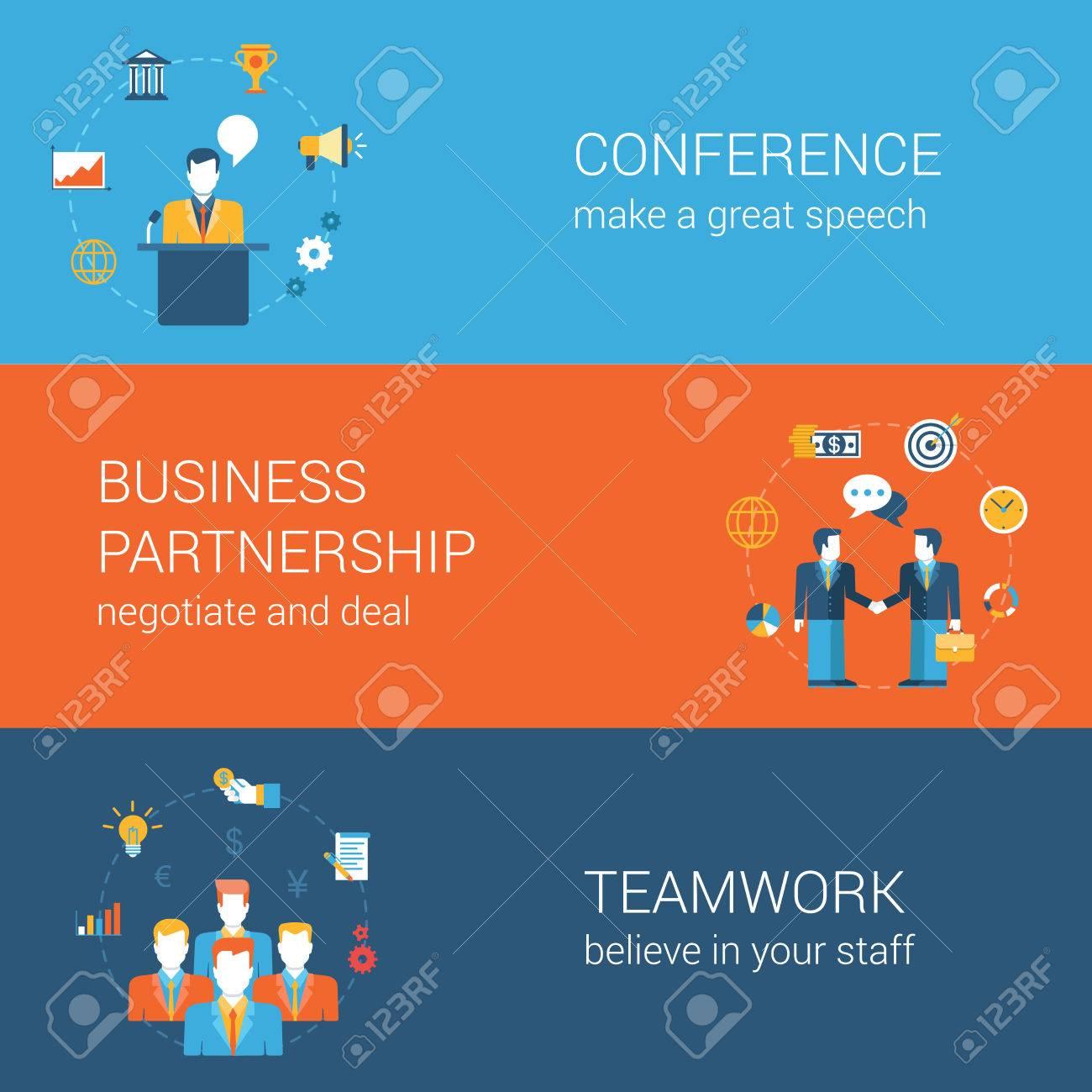 Business-Leute Lifestyle-Konzept Flach Vektor-Icon-Banner Vorlage ...